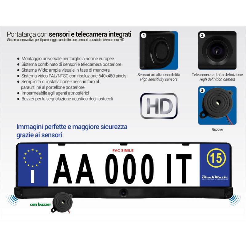 Sensori di parcheggio con telecamera supporto targa for Camera targa